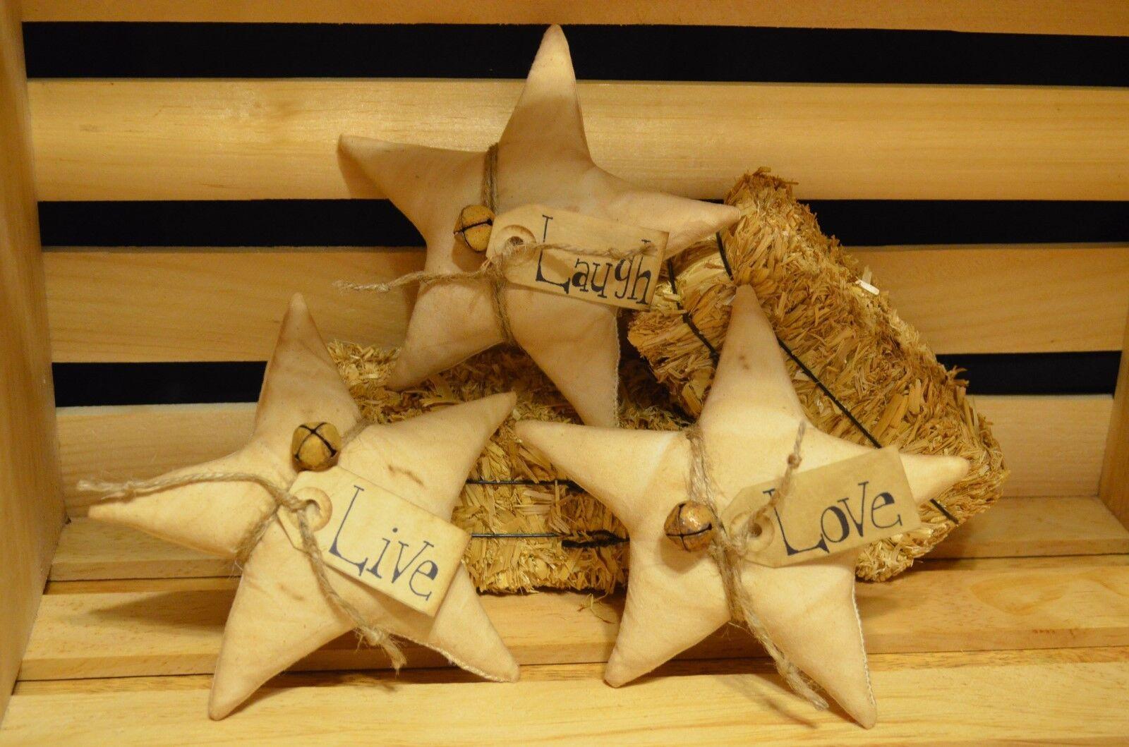 3 LIVE LAUGH LOVE Stuffed Ornies Primitive Folk Art Bowl Filler STAR DECOR Rusty