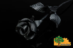BLACK ROSE Iron Wrought Handcrafted Flower Gift Metal