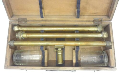 VERY RARE ANTIQUE 19TH ITALIAN WATER LEVEL SURVEYING EQUIPMENT G.ALLEMANO CASED