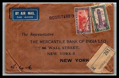 GP GOLDPATH: INDIA COVER 1952 REGISTERED LETTER AIR MAIL _CV699_P25