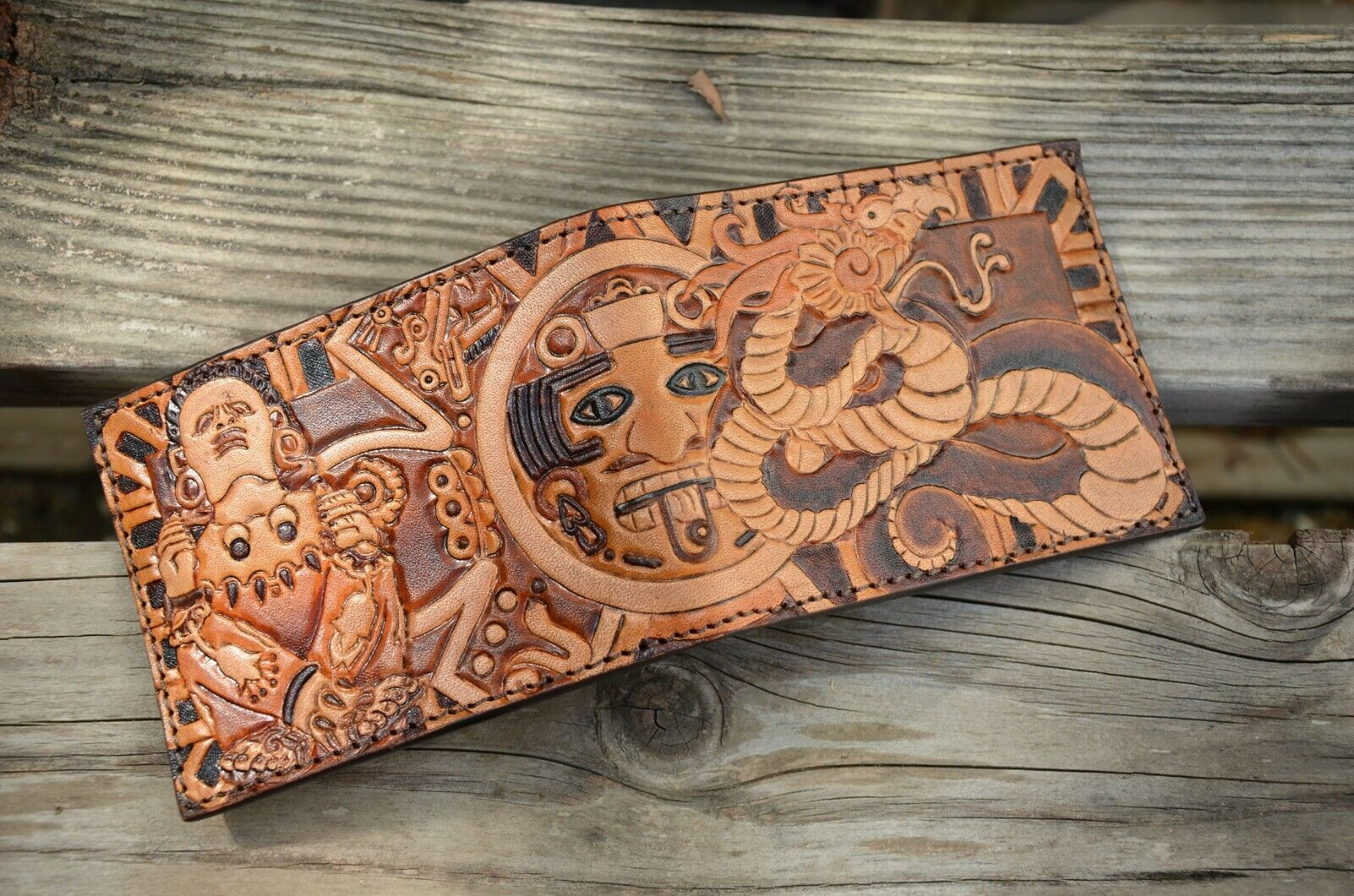 Mens Aztec Bifold Wallet- Handmade / Hand tooled / Genuine L