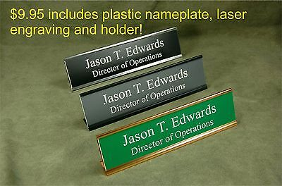 Personalized Plastic Office Desk Name Plates & 8