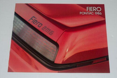 1986 Pontiac Fiero Brochure Canada Near Mint