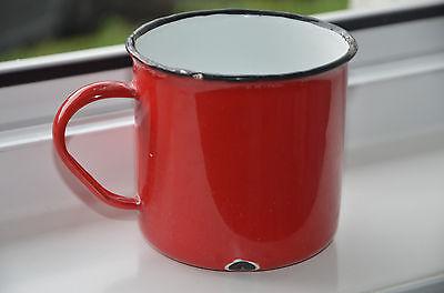 Emaille Tasse, antik, 40er Jahre, wunderschön, rot, innen weiß, vgl. Fotos!
