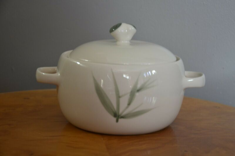 Vintage handcrafted Winfield China lidded casserole dish with bamboo design-