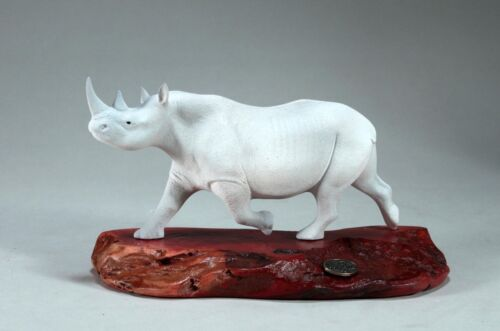 WHITE RHINO Sculpture New direct from John Perry 9in long on Burlwood Base