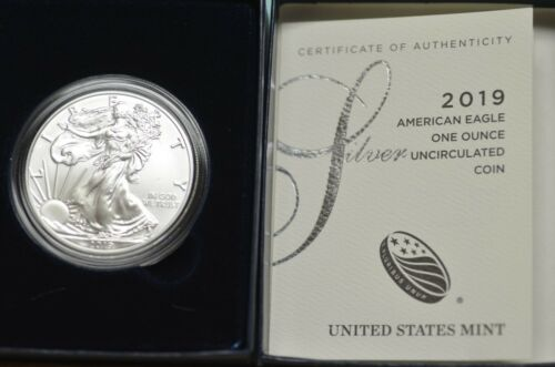 2019-W Uncirculated Burnished Silver  American Eagle w/Box & COA   Item # 2426