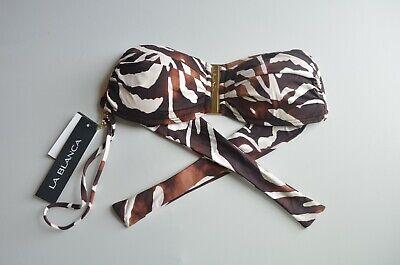 Zebra-print-bandeau (LA BLANCA Size 4 Brown & Ivory Zebra Print Bandeau Bikini Top w/ Strap $77 NWT)