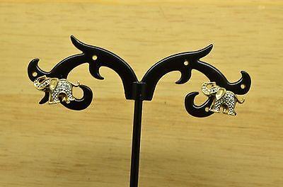 10K YELLOW GOLD TWO TONE ELEPHANT STUD EARRINGS W/ DIAMOND -