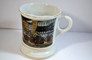 Vintage fine porcelain coffee/tea mug with a protective shield for mustache