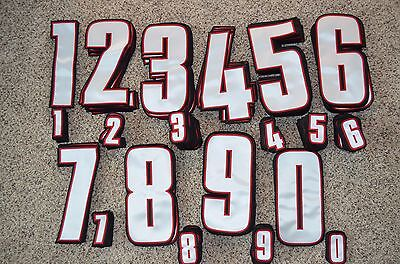 WHITE-RED-BLACK Hockey Jersey Back+Sleeve Tackle Twill Number Set Kit 128