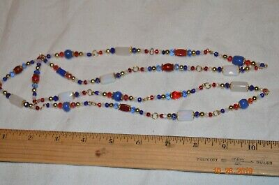Long Glass Necklace Red white and Blue Beads Gold tone chain D Glass Red Gold Necklace