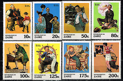 Zaire Art Norman Rockwell Famous Paintings stamps set 1979 MNH