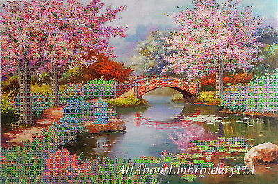 Japanese Garden Bead embrpodery kit Spring Landscape Needlepoint Handcraft kit