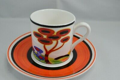 LTD  EDITION WEDGWOOD CLARICE CLIFF CAFE CHIC COFFEE CUP AND SAUCER RED TREE Wedgwood Cafe