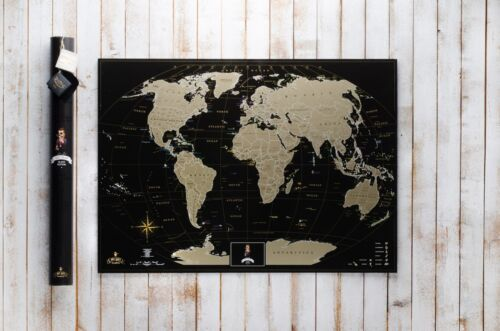 Lot 5 Pcs Deluxe Black Scratch off Map World Personal map Poster Travel States