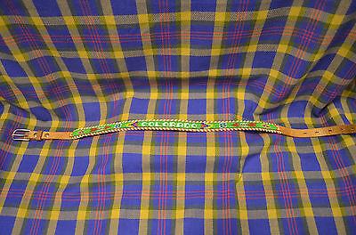 Vintage Size 28 Ladies Hand Beaded Belt w/COLORADO&White Laced Edge