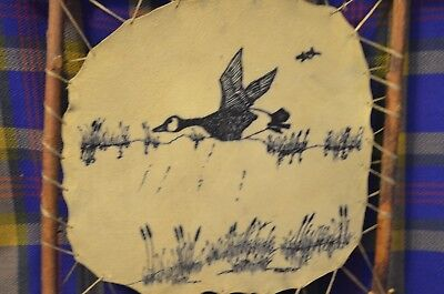 Vtg Primitive Leather Art Attached w/Sinew to Twig Frame-Canadian Goose