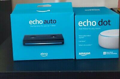 Amazon Echo Dot (3rd Gen) + Echo Auto Smart Speaker w/Alexa | BUNDLE PACKAGE