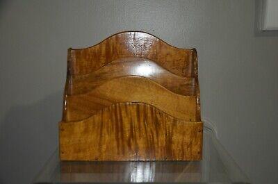 Vintage Solid Wood Letter Holder Mail File Desk Organizer