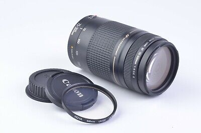 EXC++ CANON EF 75-300mm F4-5.6 II USM LENS, CLEAN, TESTED, WITH LENS CAPS +UV
