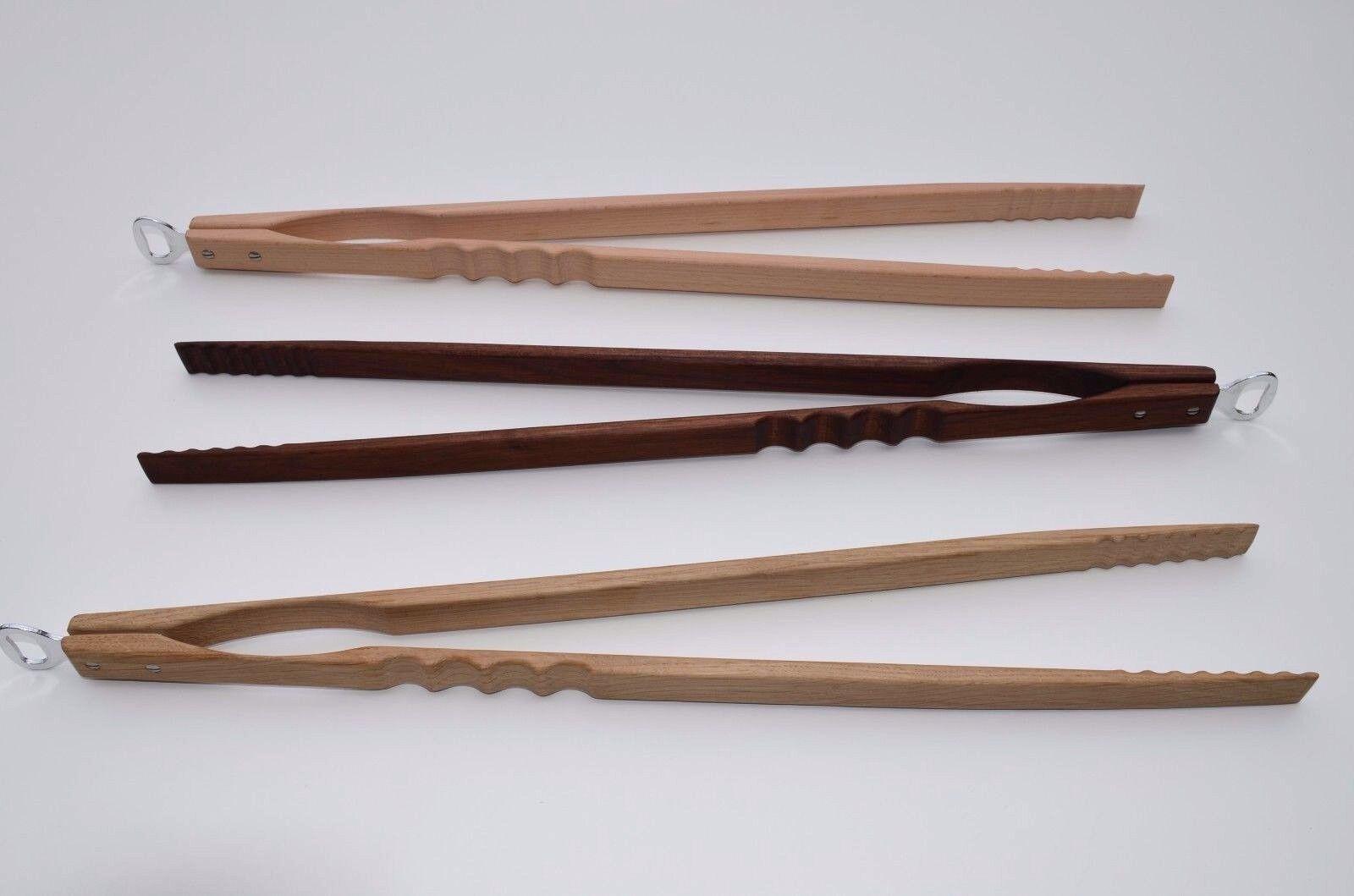 Extra lange Grillzange aus Holz mit Flaschenöffner 60 cm ! INDIVIDUELLE GRAVUR !