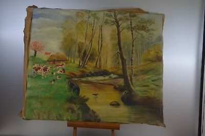 ANTIQUE PAINTING CANVAS TRAFFICKING OF COWS SIGN A GUSTIN 1962 OIL