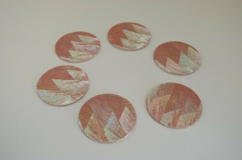 Set of 6 Handmade Pink Mother-of-Pearl Coasters with a Cork Backing