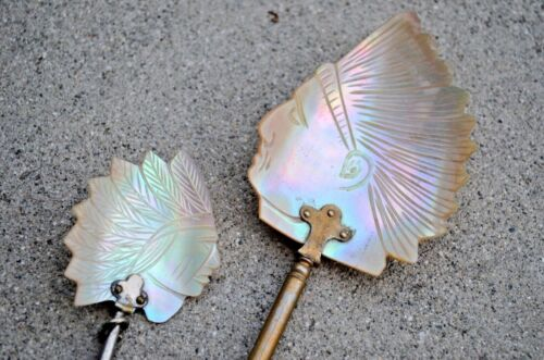 Lot 2 Antique Victorian Native American Indian Chief Mother of Pearl MOP Spoon