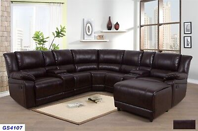 Lifestyle Furniture 5PC Living Room Recliner Sectional Couch Set,Brown Leather