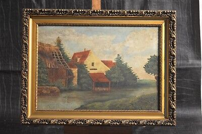 ANTIQUE PAINTING ON CANVAS WITH FRAME OIL VIEW OF THE LAVOIR