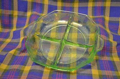 "Vtg Green Depression Hocking Glass ""Princess"" 4 Part Divided Relish Handled Tray"