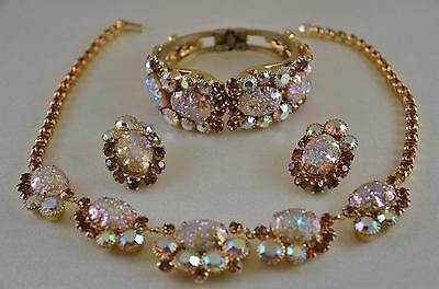 SPECTACULAR! Vtg JULIANA Pressed Glass AB Rhinestone Necklace Bracelet Earrings!