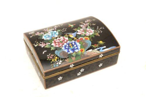 Vintage JAPANESE MEIJI CLOISONNE ENAMEL BRONZE lidded TABLE BOX Birds antique