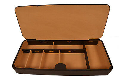 Genuine Leather Brown Large Valet Tray Office Desk Drawer Organizer ()