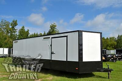 New 2021 8.5x24 V Nose Enclosed Race Ready Toy Hauler Trailer Black Out Package
