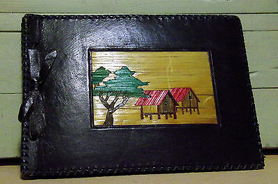 VINTAGE LEATHER SCRAPBOOK 1949-54 MT. PROSPECT IL CAT CERAMIC WORK