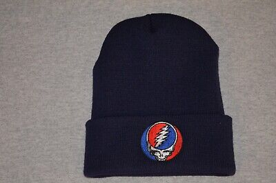 Grateful Dead -Steal Your Face - on Navy Watchman Style Beanie - Ships Free