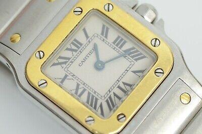 Authentic Cartier Santos Galbee Watch 18k Gold Ladies 24mm Quartz SS Logo 1567