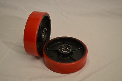 Brand New Pallet Jack Steer Wheels With Bearings Poly Tread - A Pair