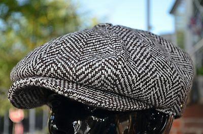 Brown Tweed 100% Wool Applejack 8Panel Newsboy Cabbie Driving Hat Cap Ns1593