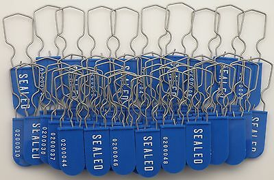Electric Meter Security Seal Wire Padlock Blue Pack Of 50