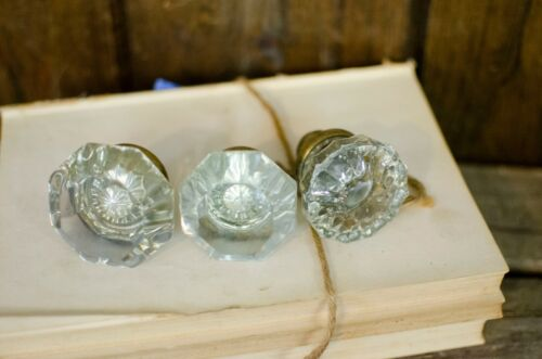 Three glass door knobs antique glass knobs hardware salvage pieces