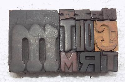 Letterpress Letter Wood Type Printers Block Lots Of 12 Typography Bc-1949
