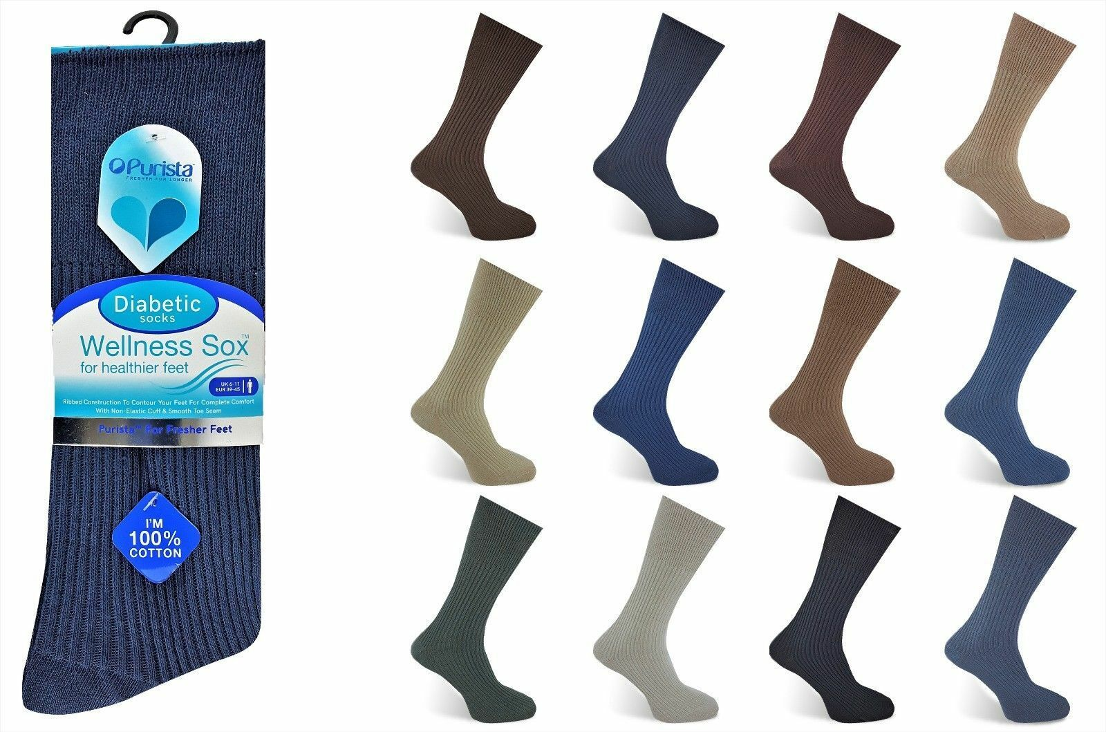 6 X Pairs Men 100/% Cotton Winter Warmer Seam Free Toe Ribbed Assorted Socks 6-11