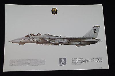 Squadron Prints 214, F14A Tomcat, USS Nimitz, VF-84, 160902, aviation art print