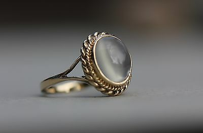 Vintage 9K 375 Gold Moonstone Ring Size J