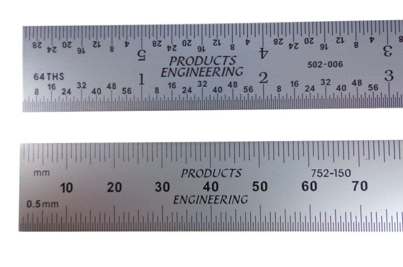 "Blem Cosmetic Second Machinist Rule PEC 150 mm 6"" Metric E/M Rigid mm,1/32,1/64"
