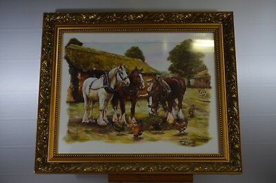 ANTIQUE PAINTING SUPER FRAME WOOD GOLDEN HORSE PAINTING OIL ON CANVAS FRAME