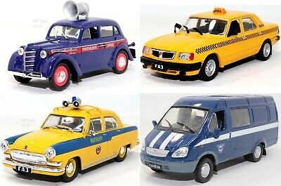 Russian Car & Van Models Collection x 4 Lot Taxi + 1:43 Scale Die-cast Model's